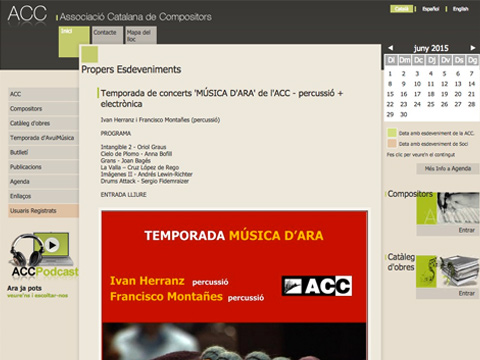 HomePage Asociación Catalan de Compositores accompositors.com