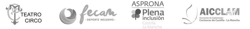 logos de empresas con las que colabora o patrocina grupo enuno, Teatro Circo Albacete, Fecam, Asprona, Aicclam