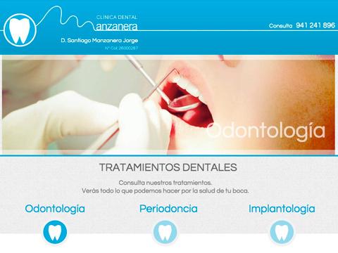 Homepage de la web de Clínica Dental Manzanera